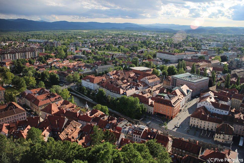 リュブリャナ城からの市内の眺め(スロベニア)