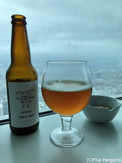 台北上空で味わうビール、格別です!