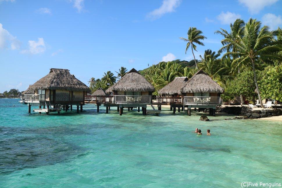 美しい海に囲まれる水上バンガロー