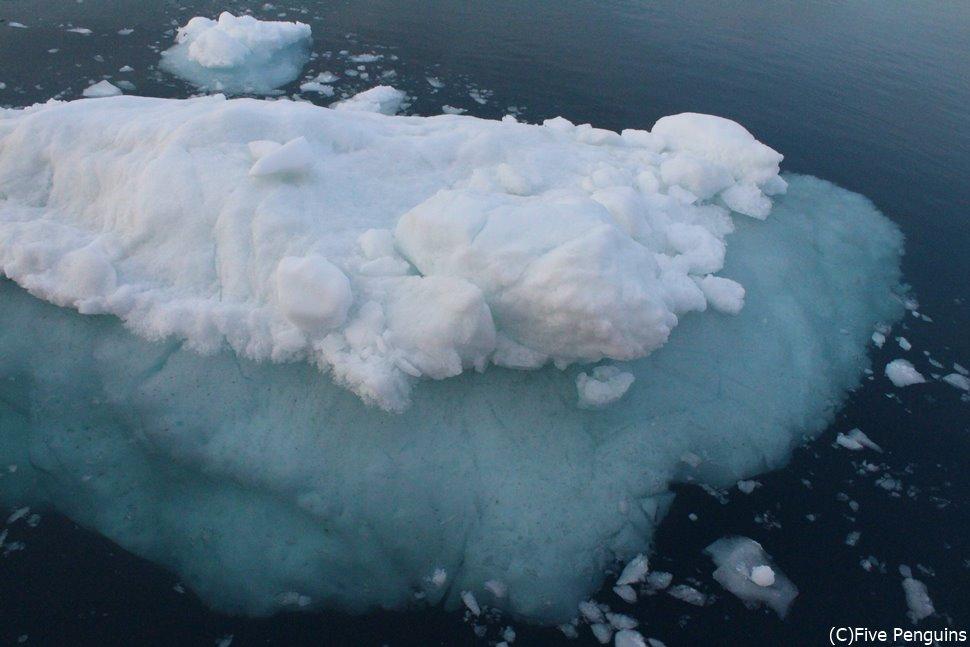 白夜の氷山クルーズで、プカプカ浮かんでいる氷塊